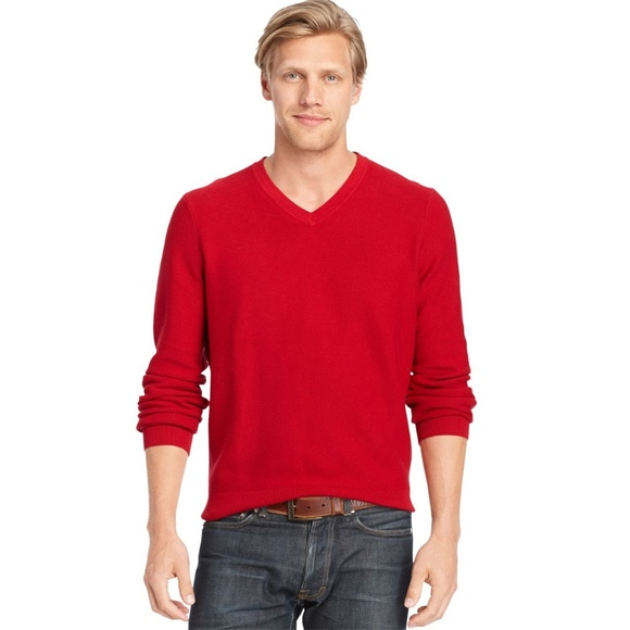 fb370a87fa3445 Izod Sweaters | Nwt Mens Red Cotton Vneck Sweater | Poshmark
